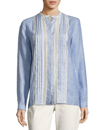 Buffy Lace-Trim Linen Blouse, Medium Blue