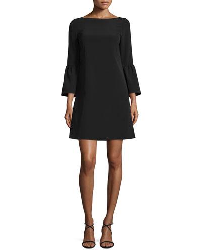 Marisa Bell-Sleeve Shift Dress, Black, Plus Size