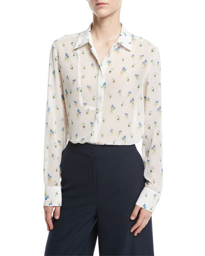 Long-Sleeve Crane-Print Button-Front Blouse, White Pattern