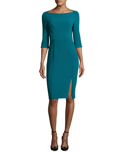 Marissa 3/4-Sleeve Sheath Dress, Jade