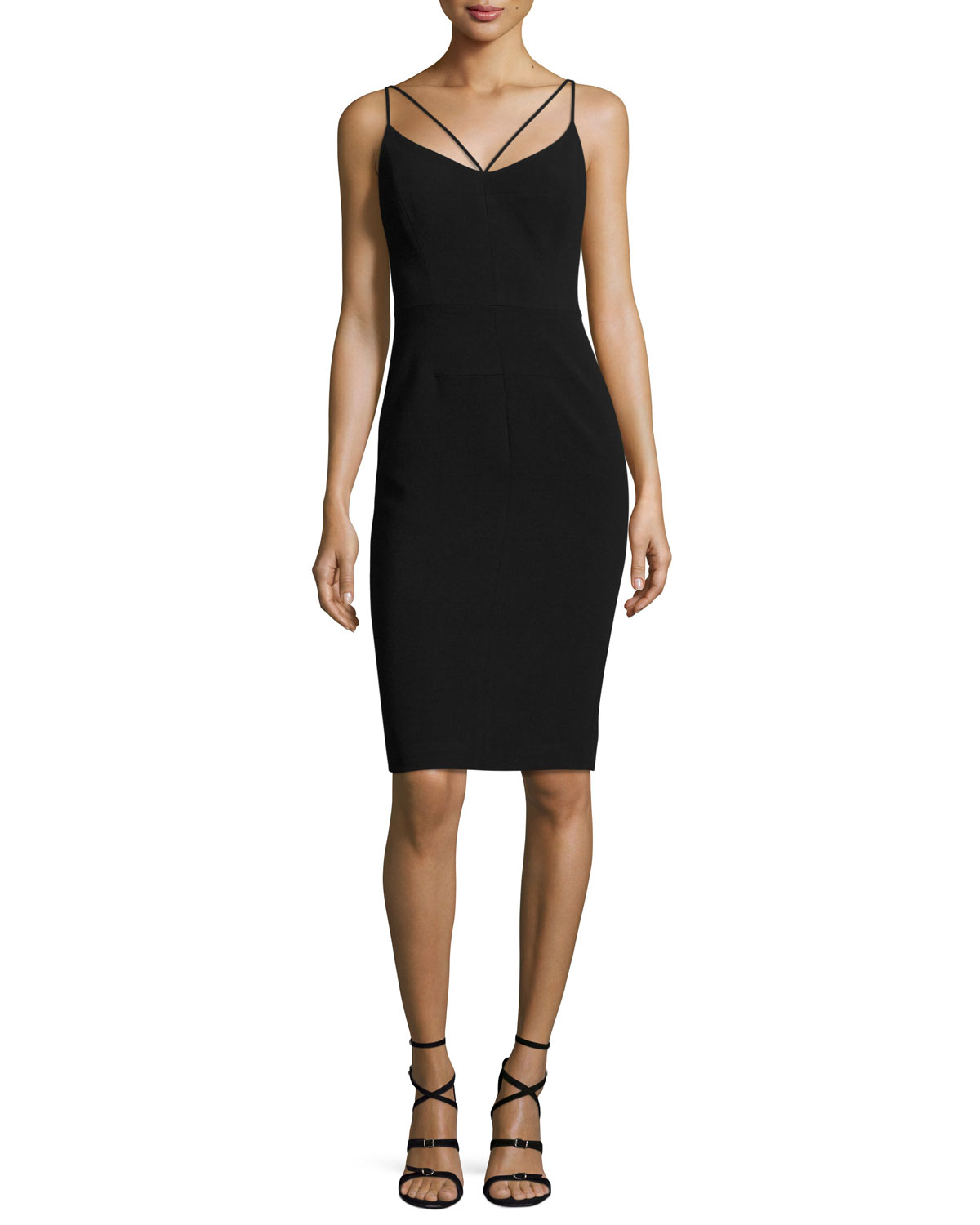Uma Strappy Ponte Cocktail Dress, Black