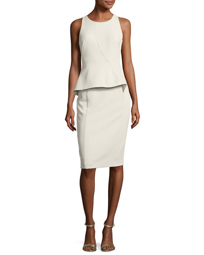 Kiara Sleeveless Ponte Peplum Dress, Stratus