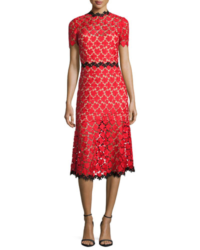 Floral Lace Open-Back Cocktail Dress, Red/Black