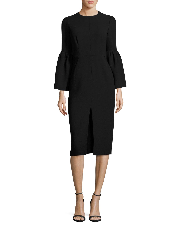 Bell-Sleeve Slit-Front Sheath Cocktail Dress, Black
