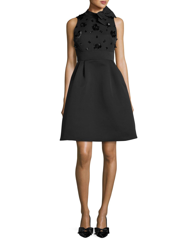 embellished bow-neck fit & flare cocktail dress, black