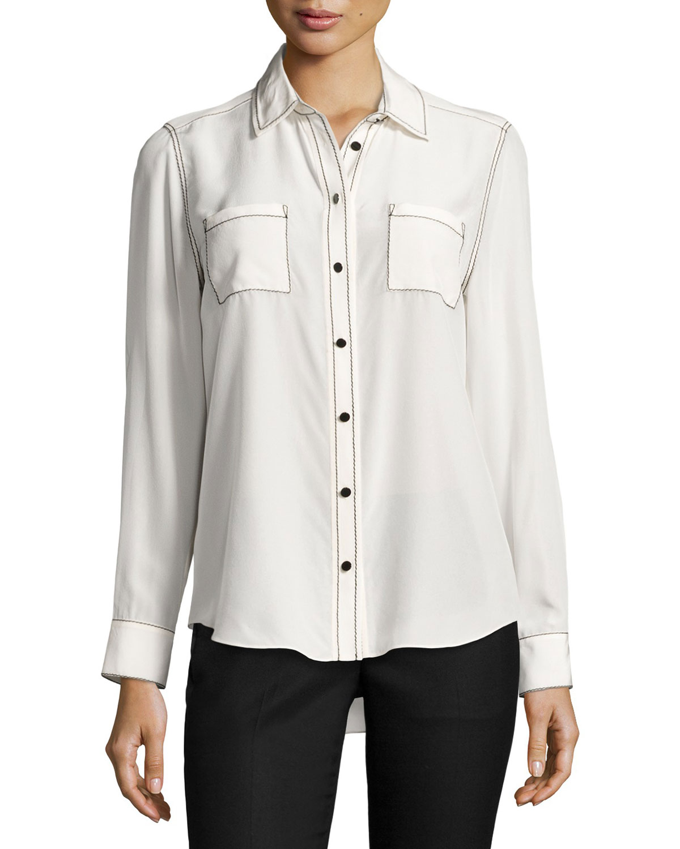 contrast-stitch silk shirt, french cream