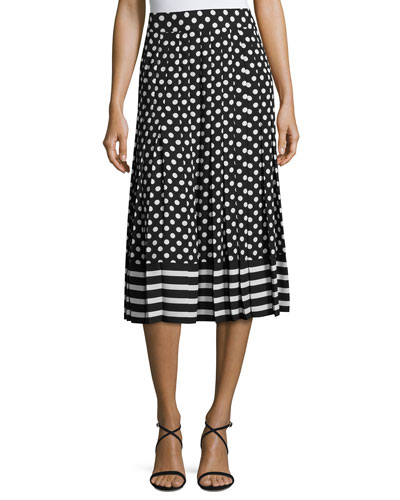 dotted & striped pleated midi skirt, black/cream