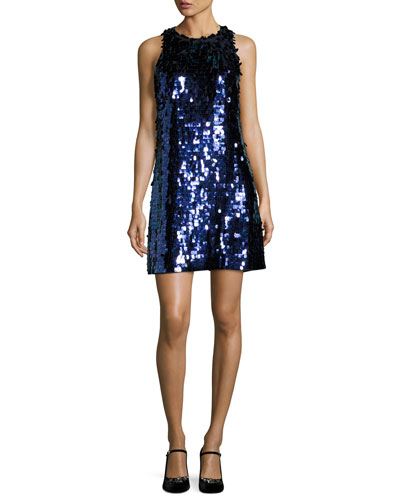 allover paillette sleeveless shift dress, black/blue