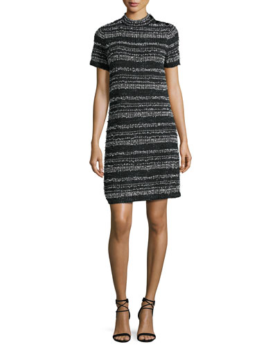 textured-stripe short-sleeve knit dress, black