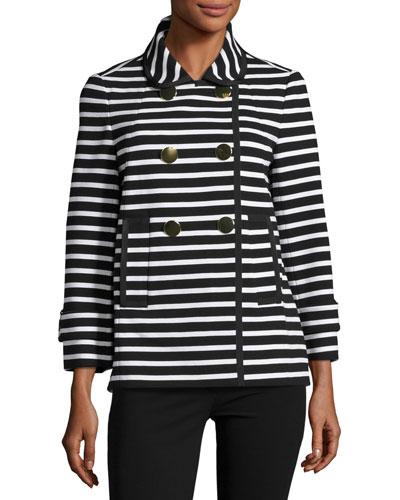striped short pea coat, black/cream