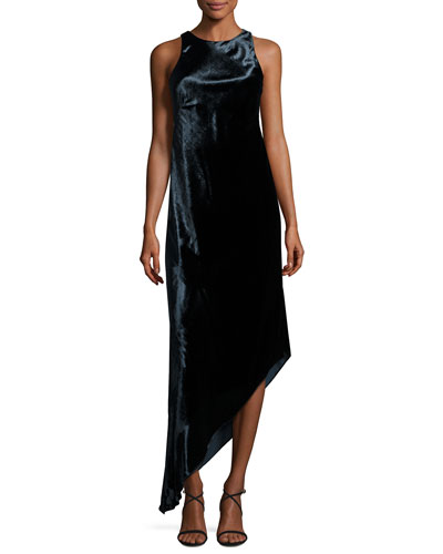Sleeveless Asymmetric Panne Velvet Dress, Twilight