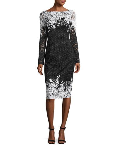 Long-Sleeve Floral Point d'Esprit Sheath Dress, Black/White