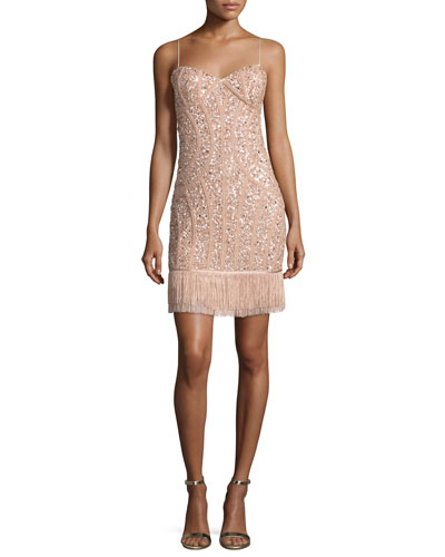 Sequined Fringe Cocktail Dress, Blush