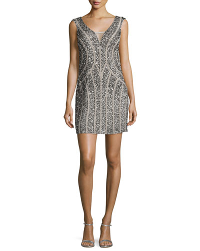 Sleeveless Embellished Mini Cocktail Dress, Silver
