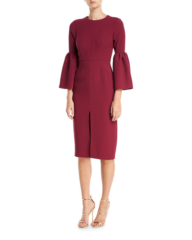 Bell-Sleeve Slit-Front Sheath Cocktail Dress, Black Currant