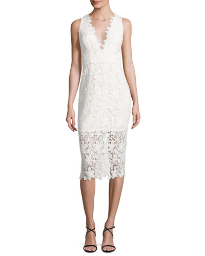 Sleeveless V-Neck Lace Sheath Dress, Off White