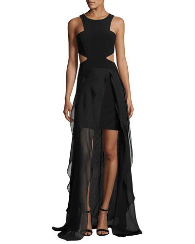 Sleeveless Cutout High-Low Hem Gown, Black