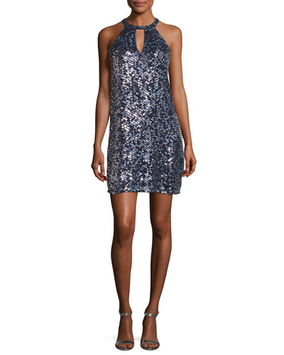 Sansa Sleeveless Sequined Shift Dress, Blue