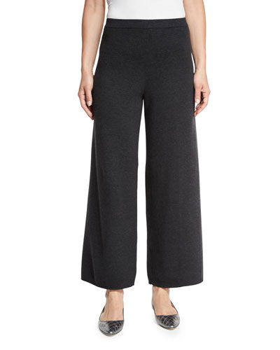 Wide-Leg Knit Pants, Charcoal, Petite