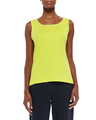 Petite Sequined Trim Tank, Wild Lime
