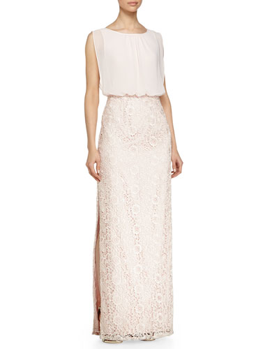 Chiffon-Top Lace-Skirt Gown, Petal