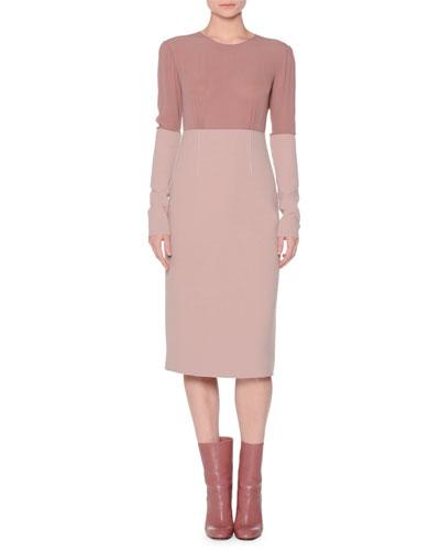 Colorblock Boucle Long-Sleeve Dress, Pink