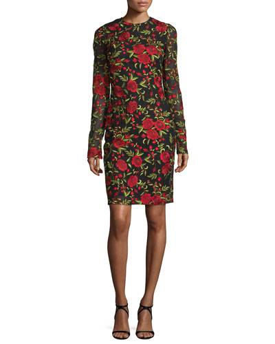 Floral-Embroidered Long-Sleeve Cocktail Dress, Black/Red
