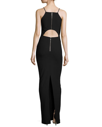 Elana Sleeveless Cutout-Back Gown, Black