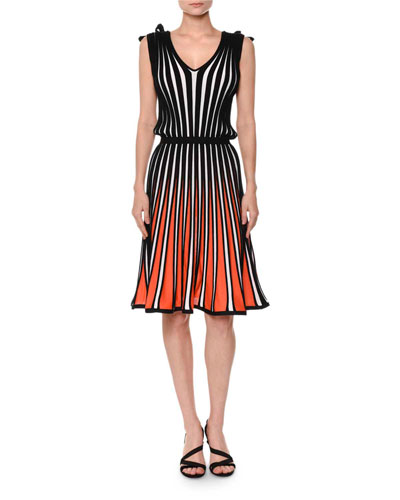 Sleeveless Striped Flare Jersey Dress, White/Black