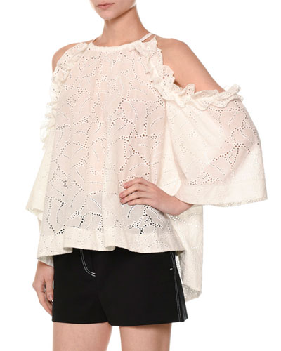 Cold-Shoulder Fluid Eyelet Lace Blouse, White