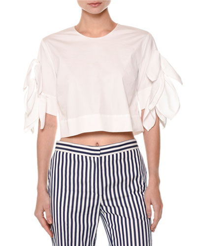 Ruffle-Sleeve Crop Top, White