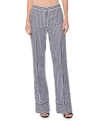 Striped Straight-Leg Cotton Pants, White/Blue