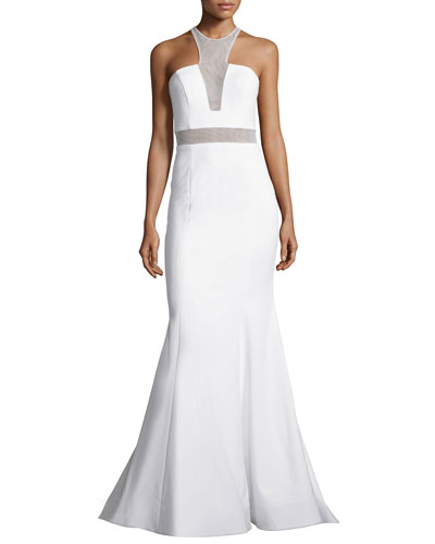 Sleeveless Illusion-Bodice Mermaid Gown, Ivory