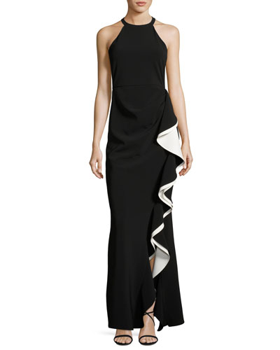 Corrine Ruffle Ponte Gown, Black