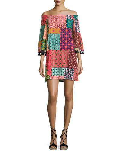 Amaris Off-the-Shoulder Patterned Dress, Multi