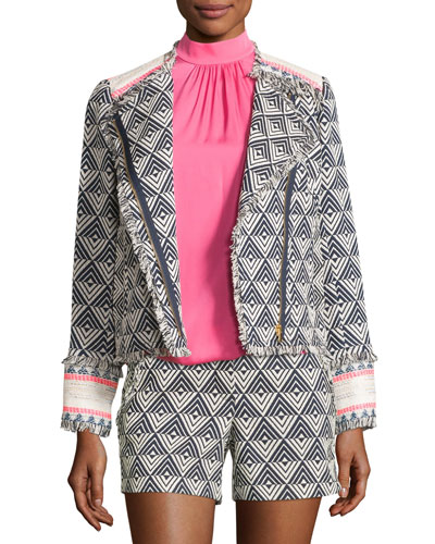 Tia Triangle-Pattern Fringe-Trim Jacket, Indigo/Whitewash