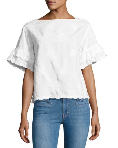 Fiske Floral-Embroidered Scalloped Top, White