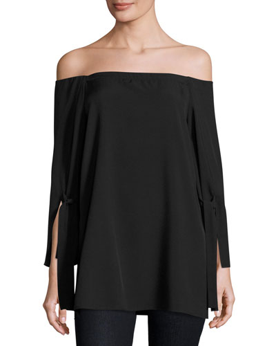 Long-Sleeve Off-the-Shoulder Blouse