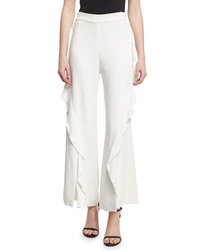 Cocktail Stretch-Ruffle Pants, White