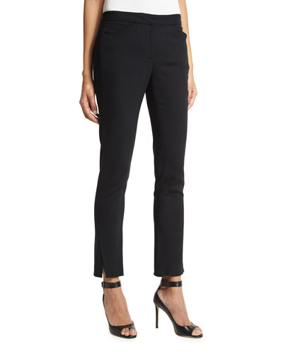 Stretch-Wool Straight-Leg Ankle Pants, Black