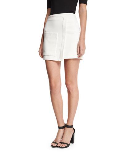 Faux-Wrap Mini Skirt, White