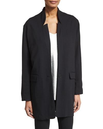 Slim Wool-Blend Stand-Collar Jacket, Black