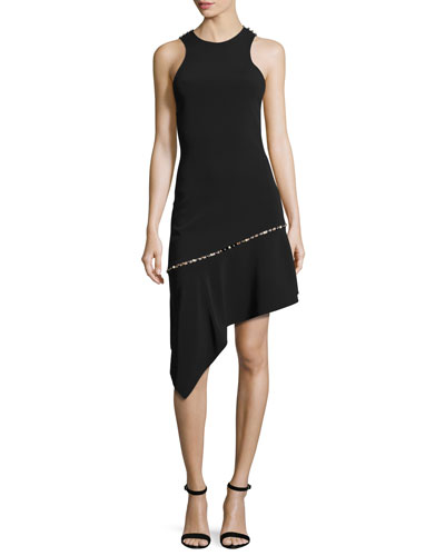 Pearly-Studded Asymmetric Sleeveless Dress, Black