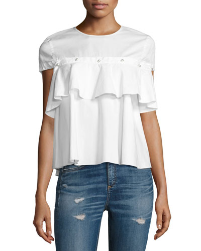 Pearly-Button Ruffle-Trim Top, White