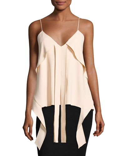 Hanging Flare Silk Crepe Top, Blush