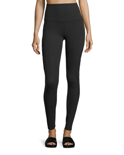 Triple-Mesh High-Waist Long Legging, Black