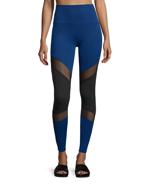 Beyond Yoga Deco Mirror Paneled High - Waist Long Leggings, Black / Cobalt