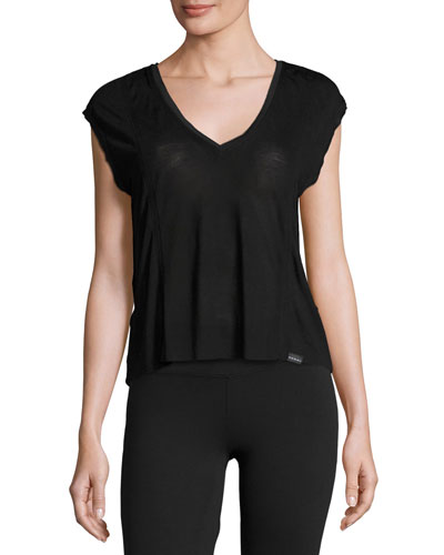 Click Draped-Back Jersey Crop Top, Black