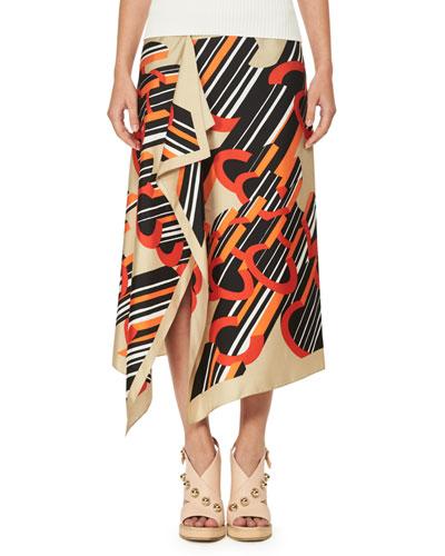 Asymmetric Printed Silk Satin Midi Skirt, Multicolor