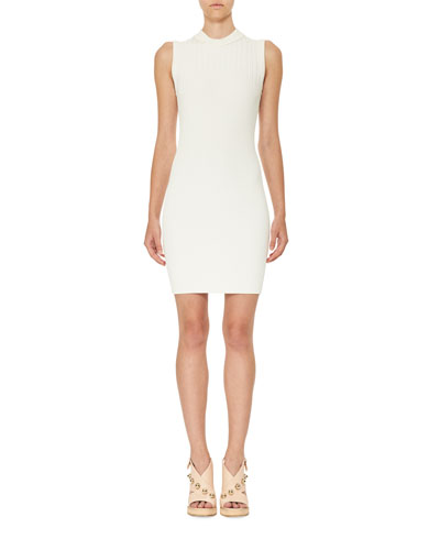 Sleeveless Ribbed Jersey Mini Dress, White